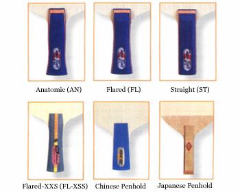 乒乓拍柄最常見的五種類型